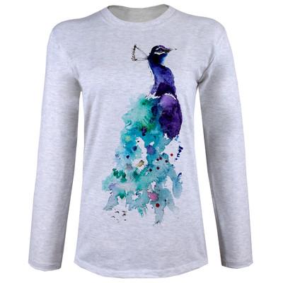 تی شرت  آستین بلند زنانه  طرح طاووس کد B34