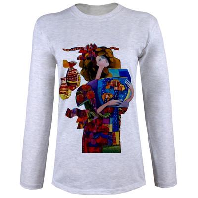 Photo of تی شرت  آستین بلند زنانه  طرح دختر و تنگ ماهی کد B44