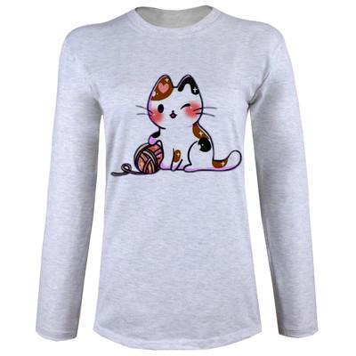 تصویر تی شرت زنانه طرح گربه آستین بلند