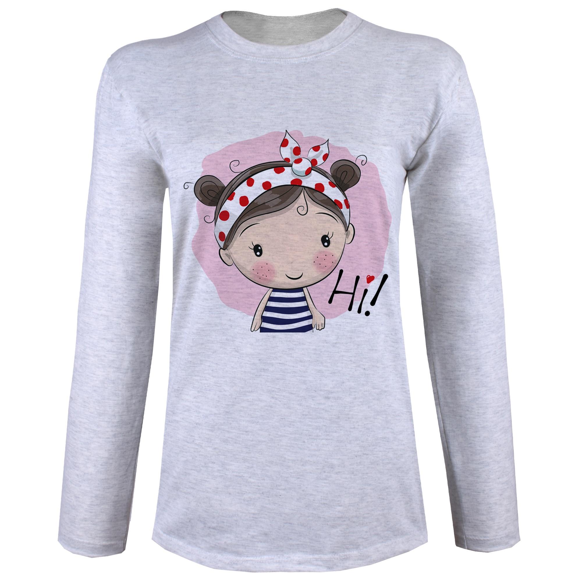 تی شرت  آستین بلند زنانه  طرح دخترک و کفشدوزک کد B60