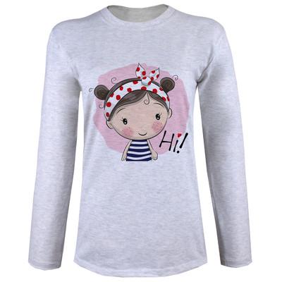 Photo of تی شرت  آستین بلند زنانه  طرح دخترک و کفشدوزک کد B60