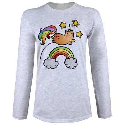 تی شرت  آستین بلند زنانه  طرح گربه تک شاخ کد B58