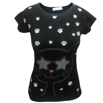 تیشرت  آستین کوتاه  زنانه لارا طرح CAT BLACK