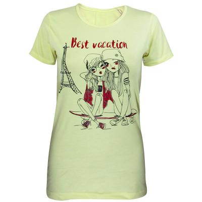تصویر تیشرت زنانه مدل Best Vaction رنگ لیمویی