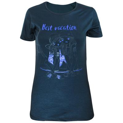 تیشرت زنانه مدل Best Vaction رنگ طوسی