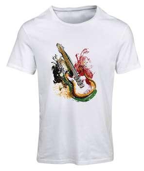 تیشرت آستین کوتاه مردانه طرح گیتار کد SW214 رنگ سفید