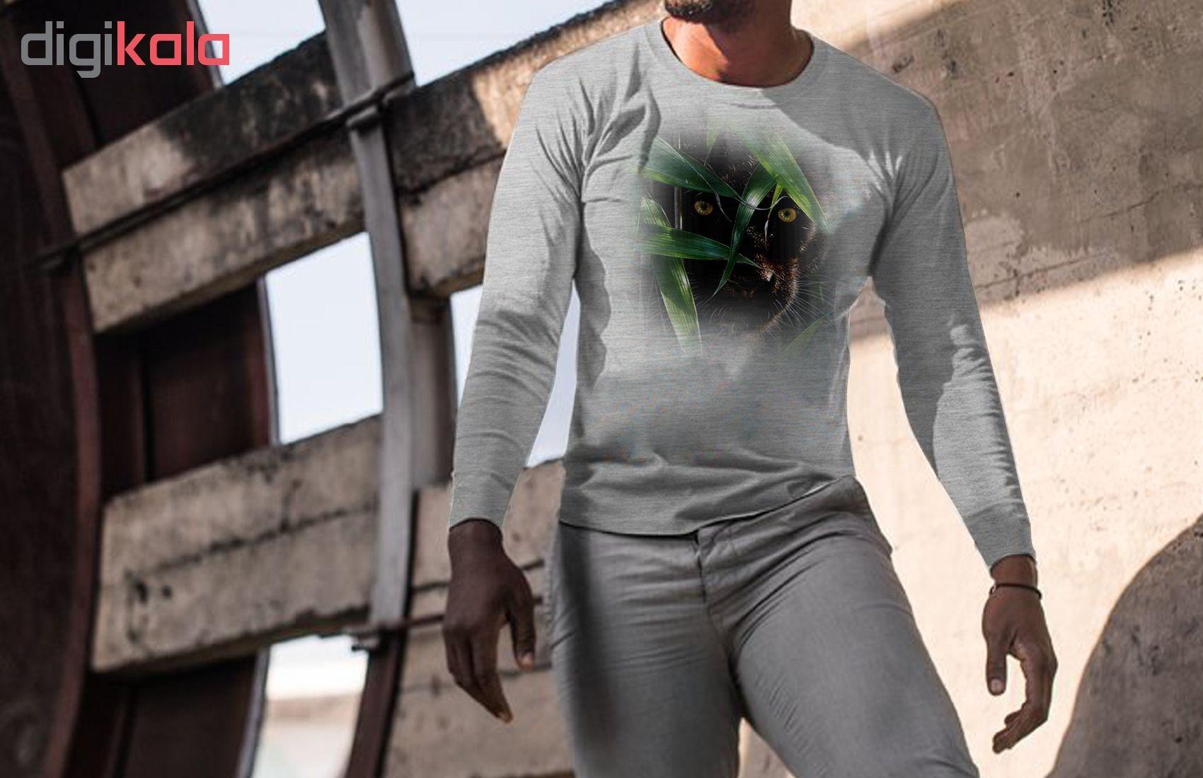 تی شرت  آستین بلند مردانه  طرح ببر سیاه کد B229 main 1 2
