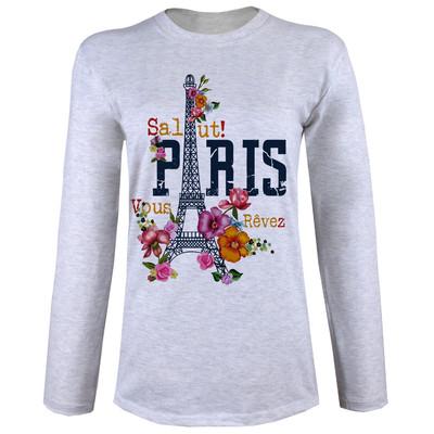 تی شرت  آستین بلند زنانه طرح پاریس کد A06