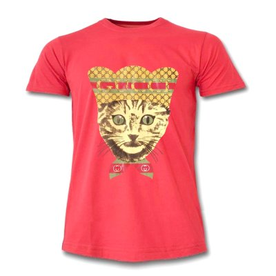 تصویر تیشرت زنانه طرح گربه رنگ قرمز