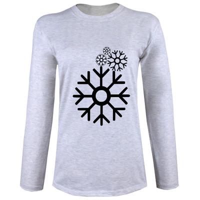 تی شرت  آستین بلند زنانه  طرح برف کد B51