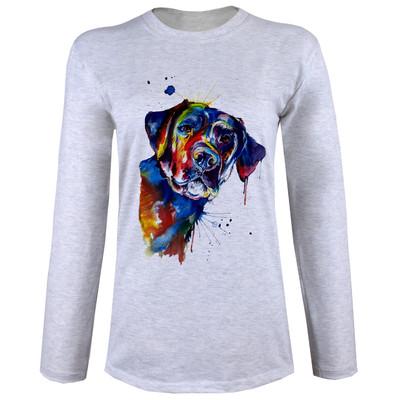تصویر تی شرت  آستین بلند زنانه  طرح سگ کد B54
