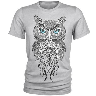 تصویر تی شرت مردانه طرح جغد کد A001