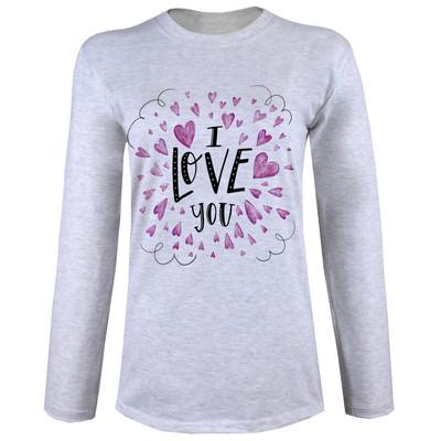 تی شرت  آستین بلند زنانه  طرح love کد B62
