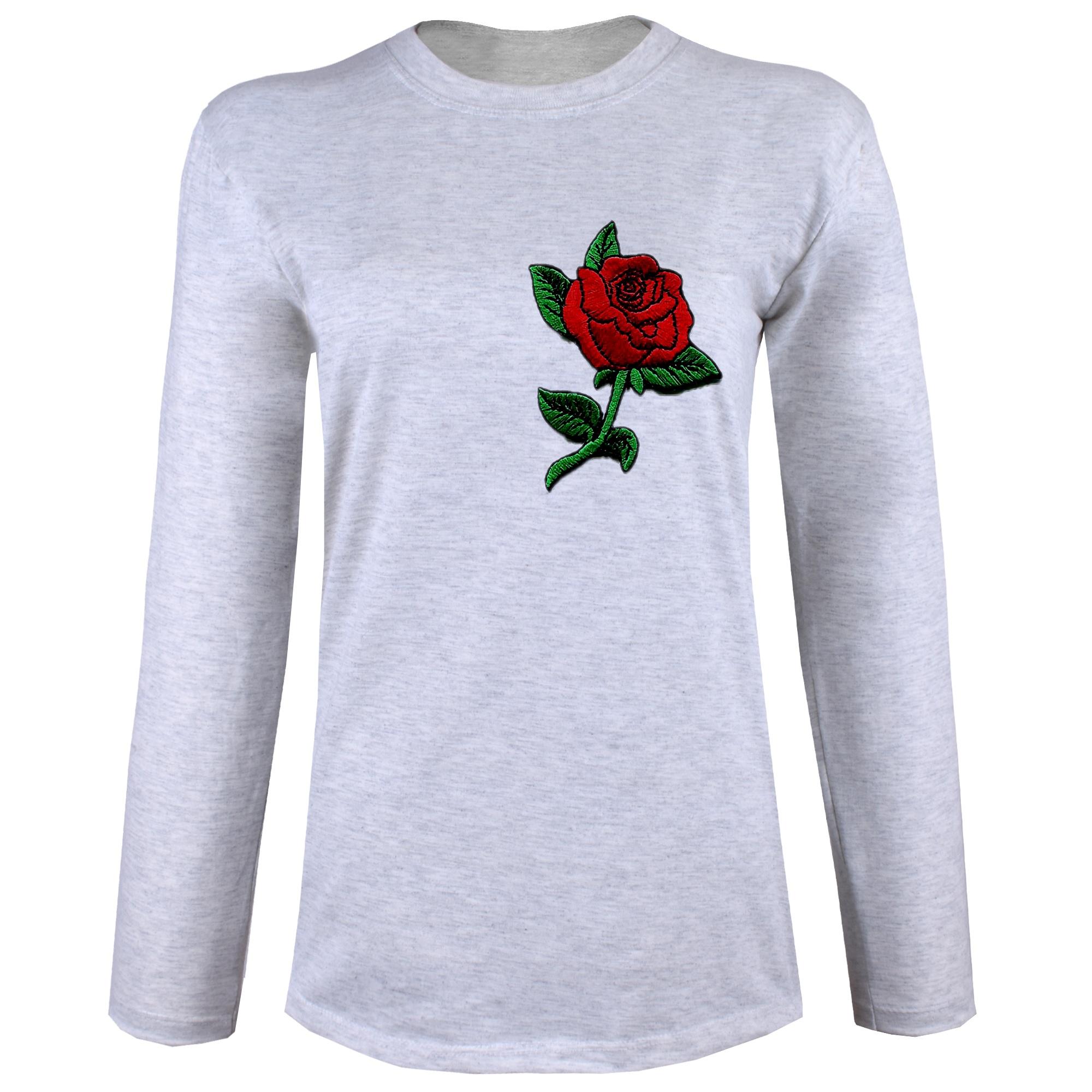 تی شرت  آستین بلند زنانه  طرح گل رز کد B69