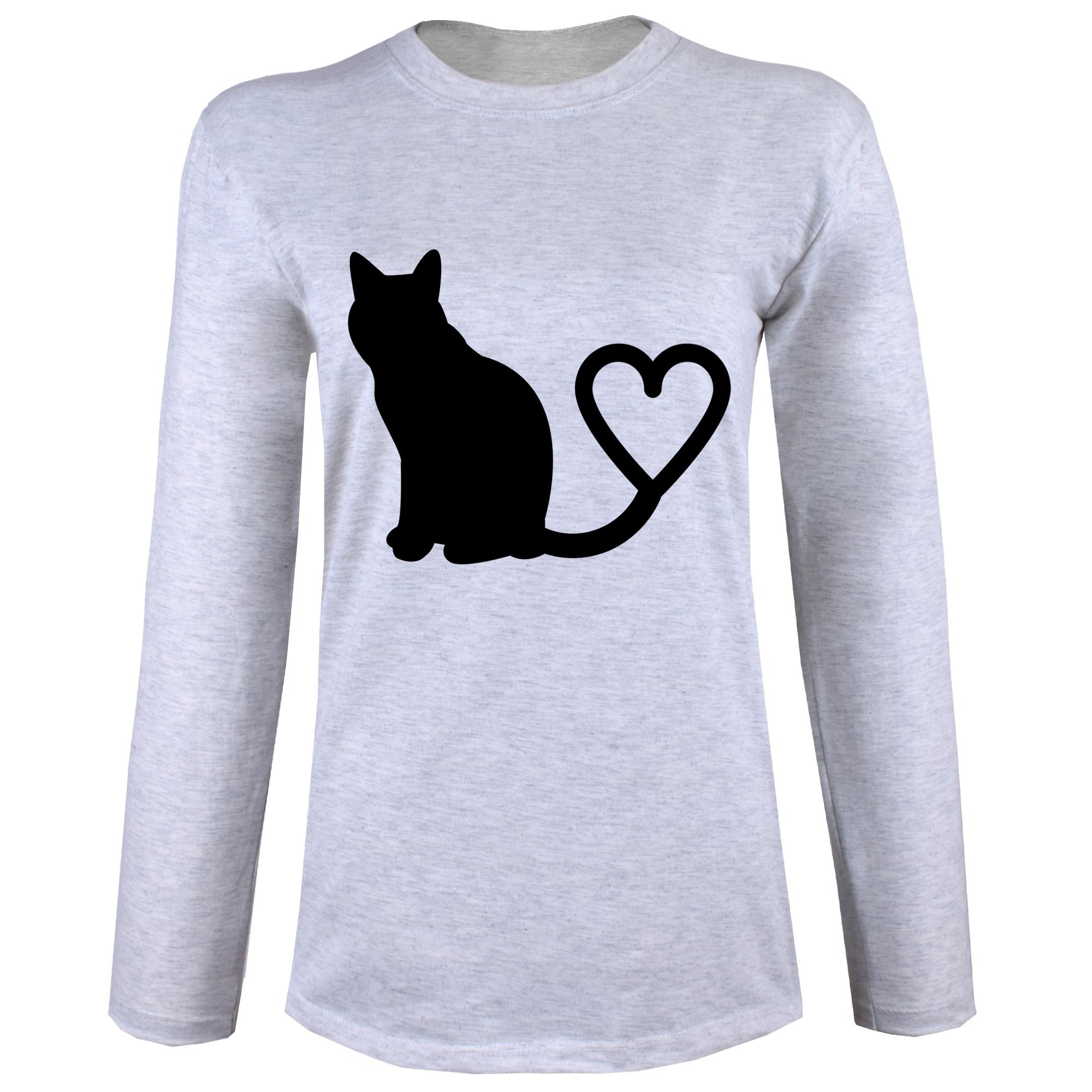 تی شرت  آستین بلند زنانه  طرح گربه کد B21