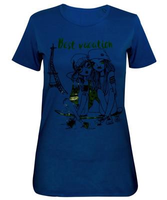 تیشرت زنانه مدل Best Vaction رنگ آبی