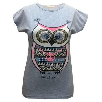 تیشرت آستین کوتاه زنانه لارا طرح SWEET OWL