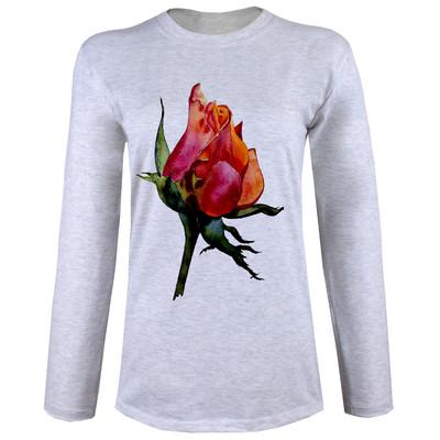 تصویر تی شرت  آستین بلند زنانه  طرح غنچه کد B42