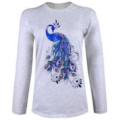 تی شرت  آستین بلند زنانه طرح طاووس کد A01