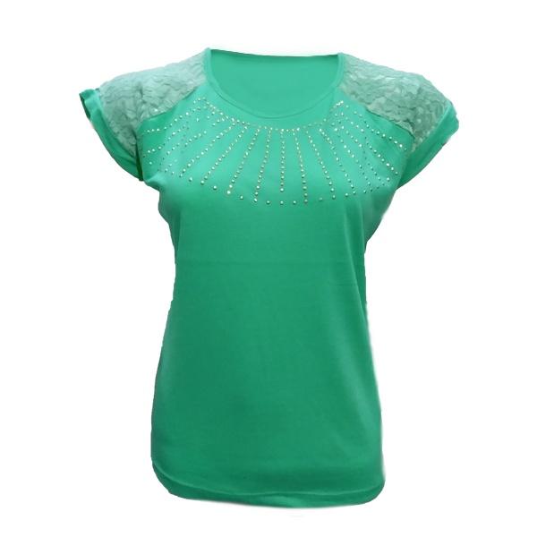 تصویر تیشرت آستین کوتاه زنانه طرح خورشیدی کد tm-216 رنگ سبز