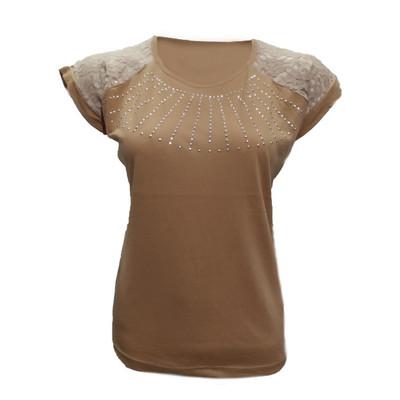 تیشرت آستین کوتاه زنانه طرح خورشید کد tm-218 رنگ قهوه ای