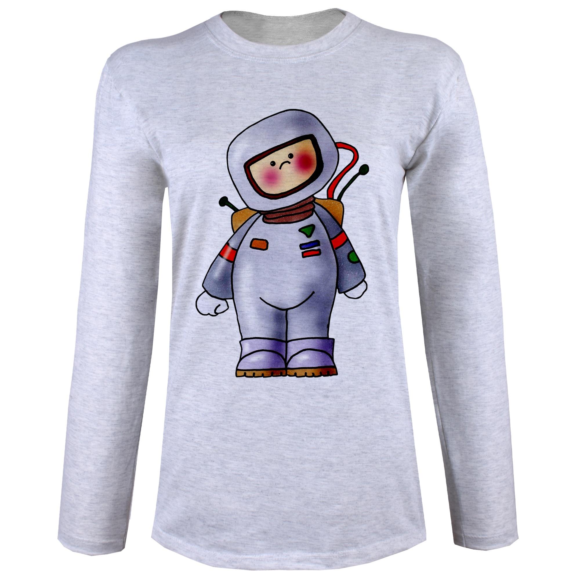 تصویر تی شرت  آستین بلند زنانه  طرح فضانورد کد B61