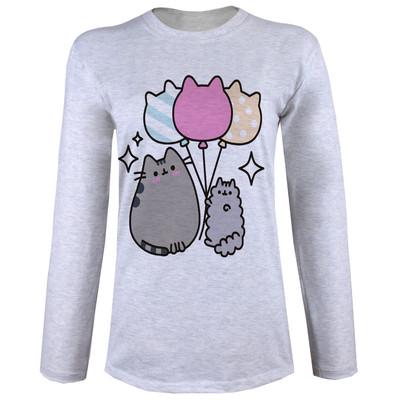 تصویر تی شرت  آستین بلند زنانه  طرح گربه و بادبادک کد B63