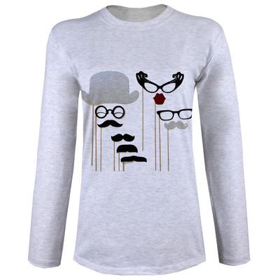 تی شرت  آستین بلند زنانه  طرح عینک و سیبیل کد B67