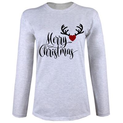 تی شرت  آستین بلند زنانه  طرح کریسمس کد B49