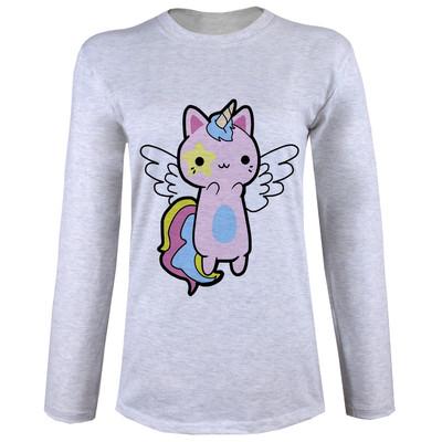 تی شرت  آستین بلند زنانه  طرح گربه تک شاخ کد B57