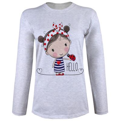تی شرت  آستین بلند زنانه  طرح دختر و کفشدوزک کد B64