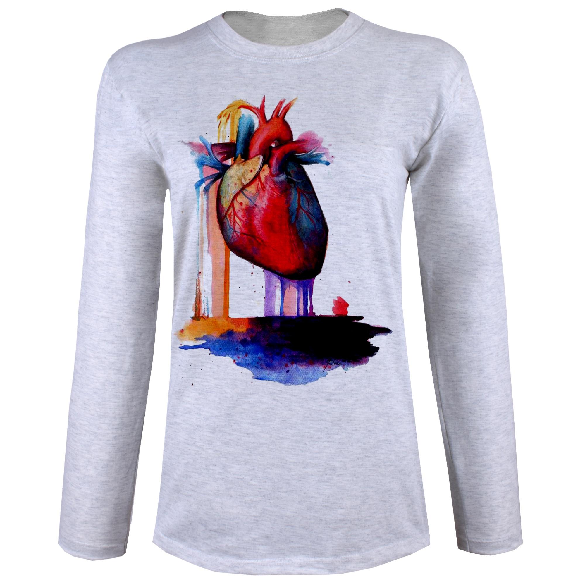 تصویر تی شرت  آستین بلند زنانه  طرح قلب رنگی کد B68