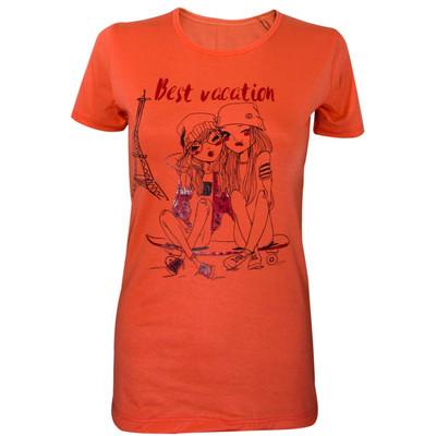 تیشرت زنانه مدل Best Vaction رنگ نارنجی