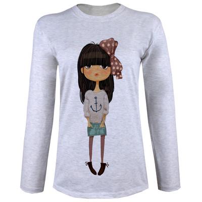 تی شرت  آستین بلند زنانه  طرح دختر کوچولو  کد B57