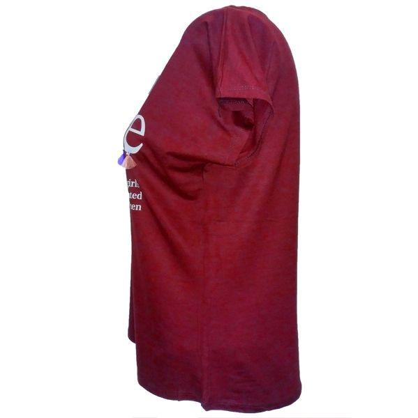 تیشرت آستین کوتاه نه طرح سلفی کد tm-250 رنگ زرشکی