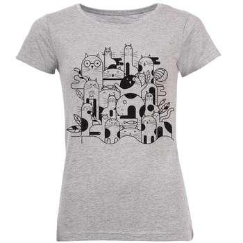 تی شرت آستین کوتاه زنانه طرح Cat کد AL38