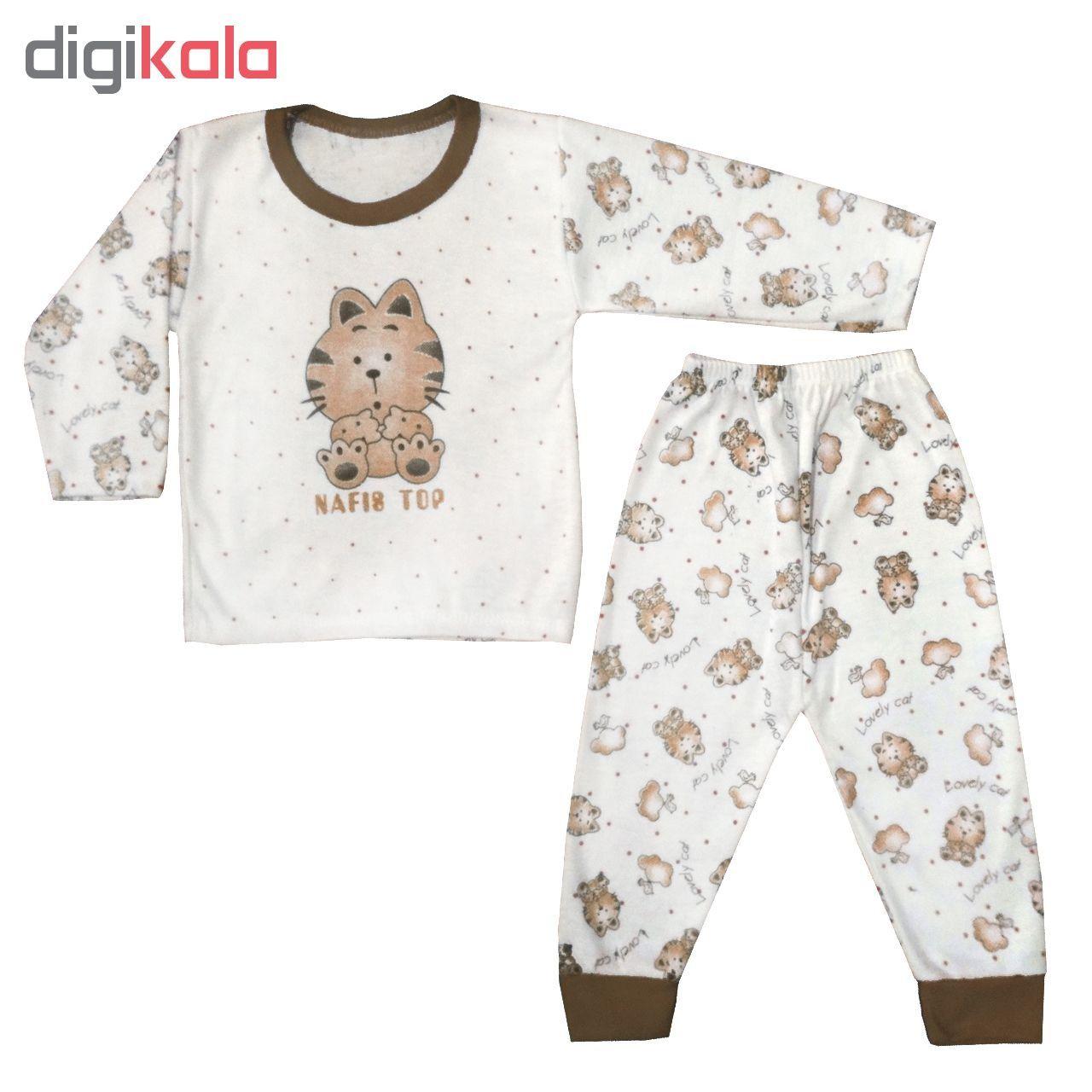 ست تی شرت و شلوار نوزادی طرح گربه کد BRW001 -  - 1