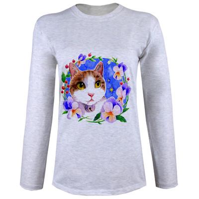 تی شرت  آستین بلند زنانه  طرح گربه و گل  کد B96