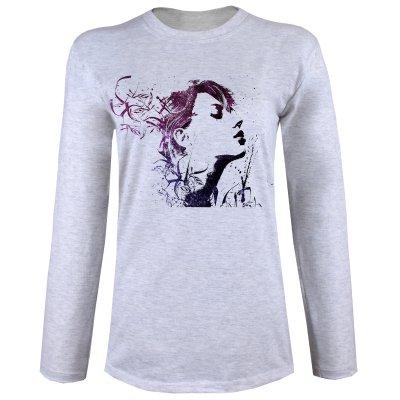 تصویر تی شرت  آستین بلند زنانه  طرح face کد B90