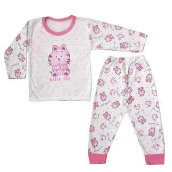 ست تی شرت و شلوار نوزادی طرح گربه کد PNK004