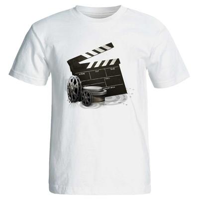 تیشرت آستین کوتاه زنانه طرح کلاکت سینما کد ۳۸۵۳