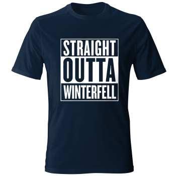 تی شرت آستین کوتاه مردانه طرح STRAIGHT  OUTTA WINTER FELL کد 22