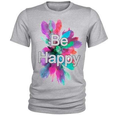 تصویر تی شرت مردانه مدل Be Happy کد A124