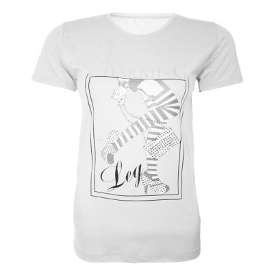 تصویر تیشرت آستین کوتاه زنانه طرح کیف و کفش کد tm-276 رنگ سفید