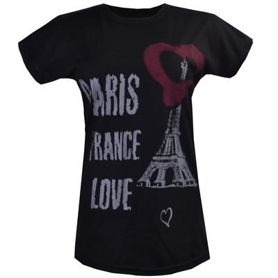 تیشرت آستین کوتاه زنانه طرح پاریس مدل G1 کد 9013