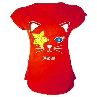 تیشرت آستین کوتاه زنانه طرح گربه و ستاره کد tm-309 رنگ قرمز