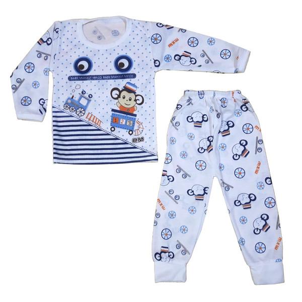 ست تی شرت و شلوار نوزادی پسرانه طرح میمون کد 123