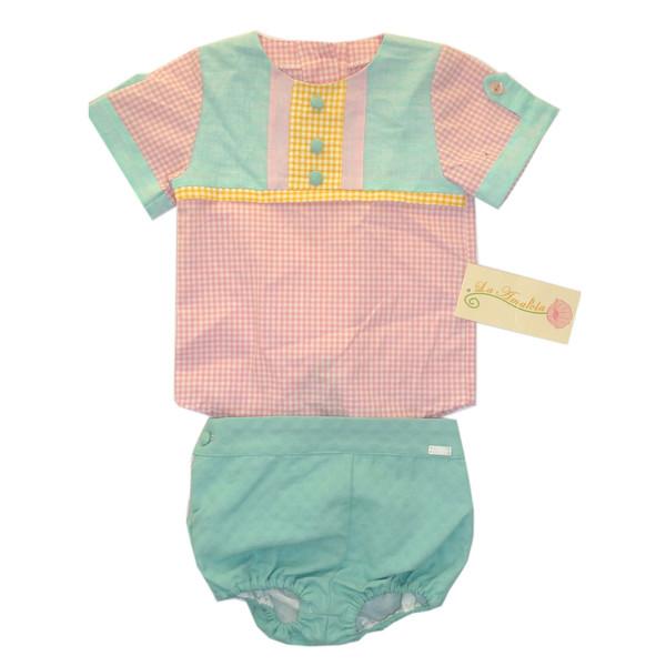 ست تی شرت و شرت نوزادی دخترانه لاآماپولا مدل ILUSION BEBE