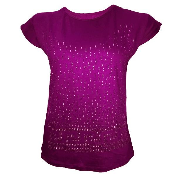 تیشرت آستین کوتاه زنانه طرح SEVDA کد tm-349 رنگ بادمجونی