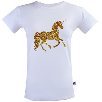Photo of تیشرت زنانه آستین کوتاه آکو طرح اسب طلایی کد BS37